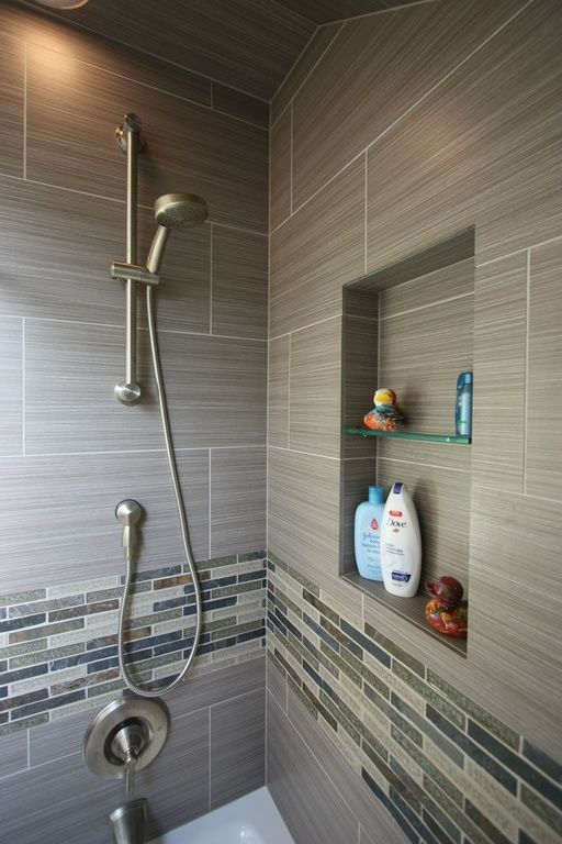 Contemporary Full Bathroom with Handheld showerhead, Ceramic shower tile, Recessed shower niche