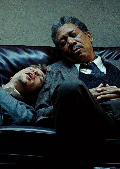 "whysoserioused: "" Brad Pitt & Morgan Freeman in Se7en """