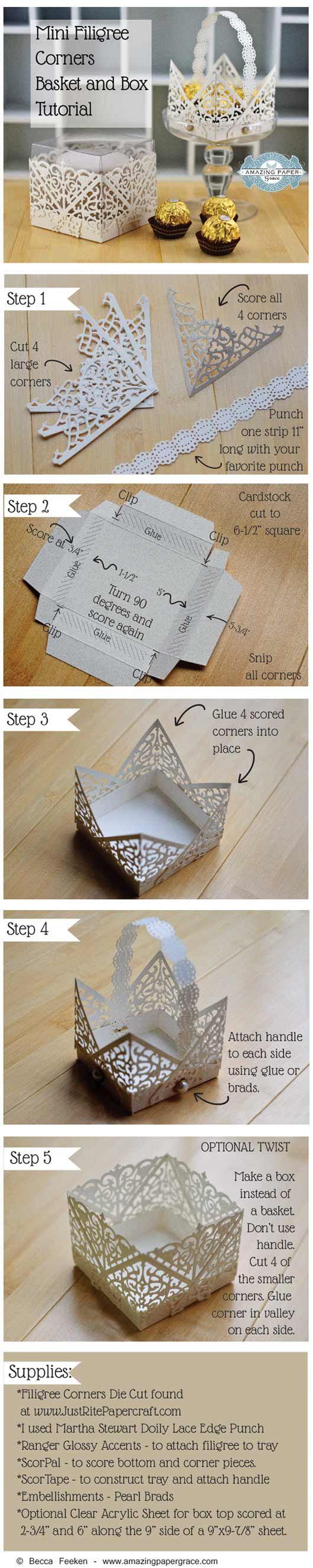 Mini Filigree Corners Basket Tutorial and Mini Filigree Corners Box Tutorial by Becca Feeken