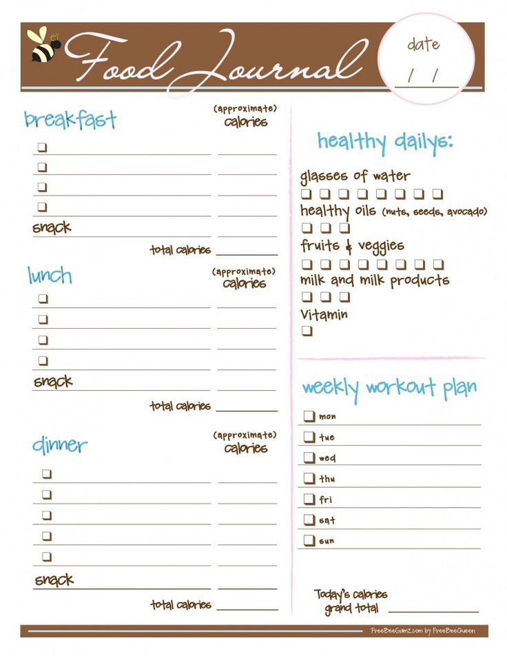 Free food journal.. LOVE! Want to try the idea of food journal to see if it really works but I love how it has a section to keep track of workout days!