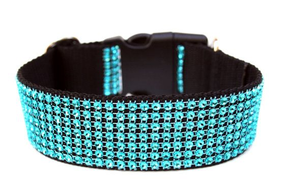 Turquoise Dog Collar 15 Rhinestone Dog Collar by Dogologie on Etsy, $24.00