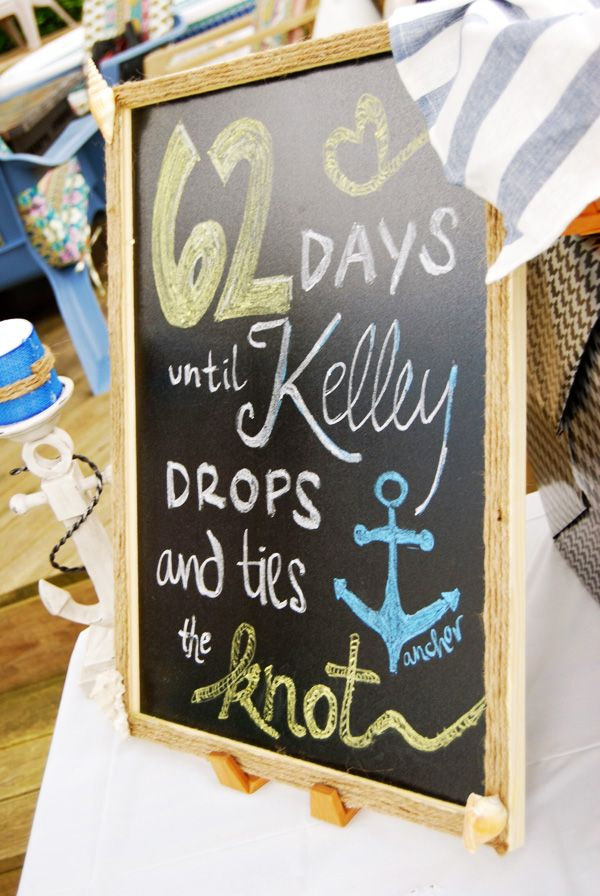 nautical bridal shower | Nautical chalkboard for a bridal shower | Mospens Studio