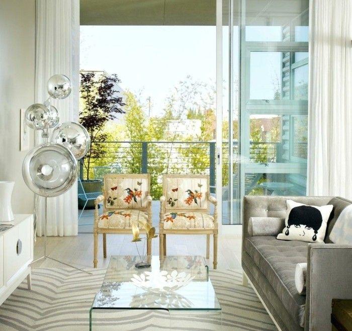 Wohnzimmer Tisch Glserner Couchtisch Und Ausgefallene Lampen