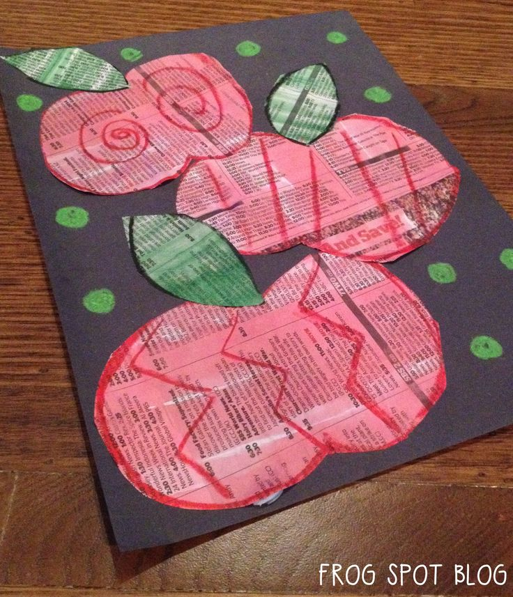 Newspaper Apples Art Project for Kids Classrooms