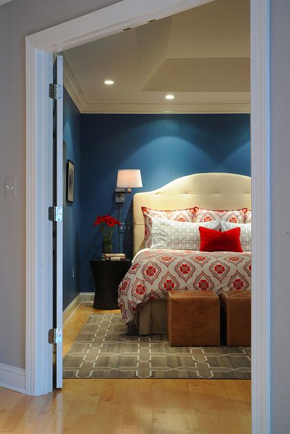 Master bedroom - All of my colors, but I would've never been so bold to do it this way.. WOW. I love.