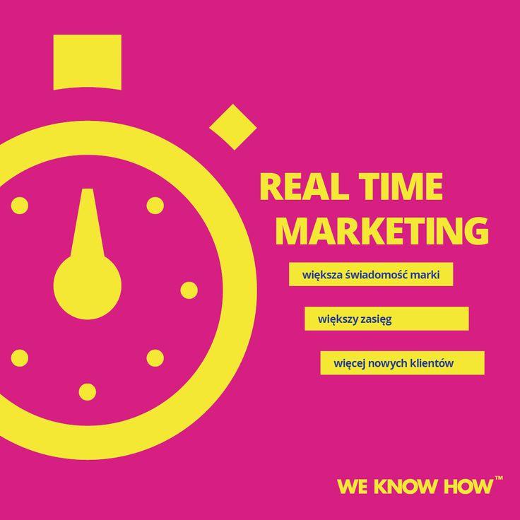 Real – time marketing to szybkie reagowanie na aktualne wydarzenia przez tworzenie nawiązujących do nich treści. Najlepszym miejscem dla real-time marketingu są Social Media. Jeśli umiejętnie wykorzystasz moment, zainspirujesz do dyskusji.