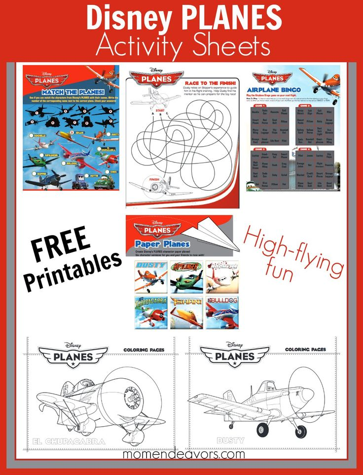 FREE printable Disney Planes activity sheets and coloring pages!! -via momendeavors.com #Disney