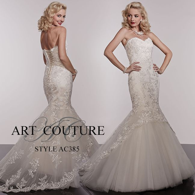 I butikk <3 ABELONE.NO <3  Strapless lace wedding dress with sweetheart neckline and high-low hem detail. AC385 is available in Ivory, White or Ivory Gold as pictured #artcouture #eternitybridal #weddings #bigday #bridal #bridalgowns #gettingmarried #weddingfashion #weddingdress #lace #mermaid #wowfactor