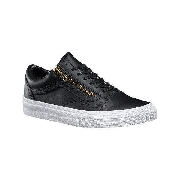 Vans Premium Leather Old Skool-Zipper - Black/Gold Leather Casual... ($75) ❤ liked on Polyvore featuring shoes, sneakers, casual footwear, casual shoes, black shoes, black leather sneakers, leather lace up sneakers, leather shoes and leather sneakers