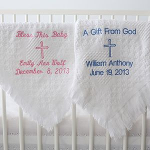 Baptism Blessings Embroidered Blanket - a great keepsake of this once-in-a-lifetime occasion with the embroidered personalization makes it a great baptism or christening gift.  Click photo for product details & pricing.