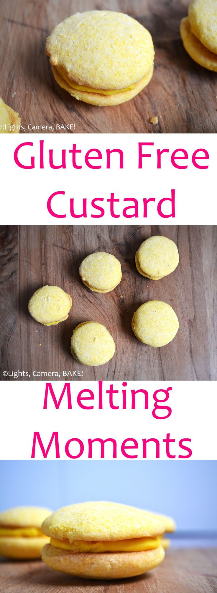 Gluten Free Custard Melting Moments. These are gluten free melt-in-the-mouth shortbread-like custard cookies with a custard buttercream filling. These are seriously divine. They melt as soon as they touch your tongue. A definite must try. #custardmeltingmoments #custardbuttercream #mltingmomentsrecipe #glutenfreecookies