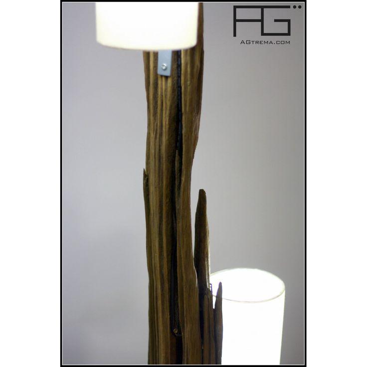 Lampe en bois flotté double, poutre de bois pétrifiée, artisanat d'Alsace, AGtrema