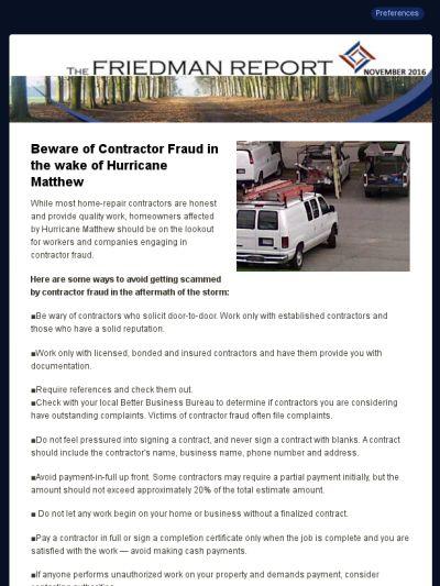 43 best friedman report images on pinterest promotion email friedman report november 2016 fandeluxe Gallery
