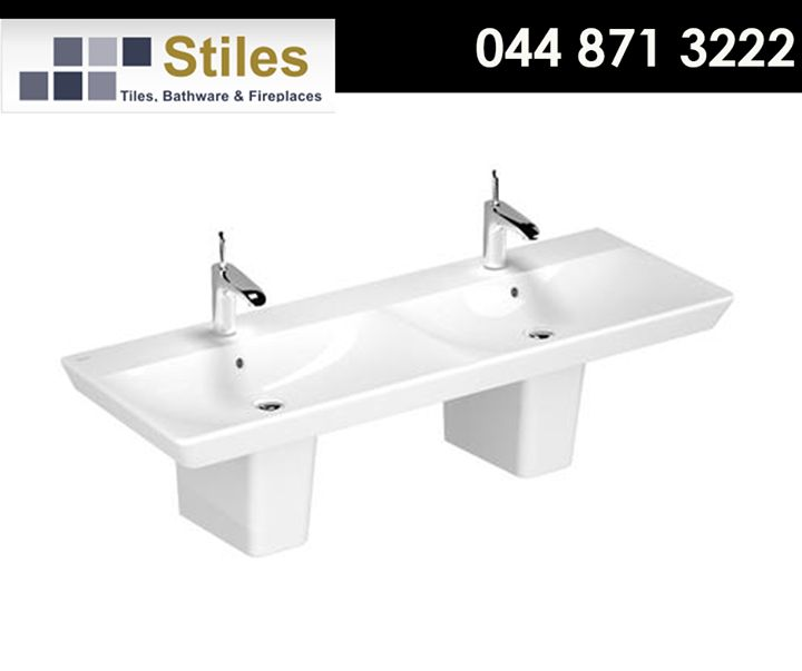 The Beautiful double basin is perfect for an ensuite bathroom, adds functionality and innovation with its modern design. Visit #StilesGeorge today for more info. #Vitra #bathrooms