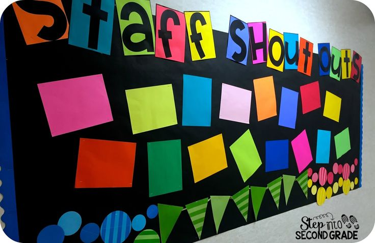 Bulletin Board for Staff Lounge. Love the idea of a Staff Shout Out Bulletin board to encourage positivity and support for one another. Love the black & neon colors.
