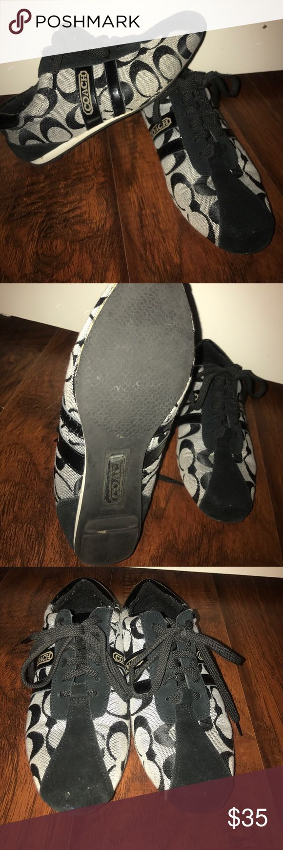 Coach Tennis Shoes Women's Coach tennis shoes. Size 6, black and grey, mildly worn. Coach Shoes Sneakers