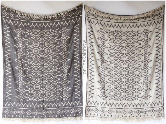 Aztec Throw Blanket  Navajo Picnic Blanket  Black by onTheRainbow