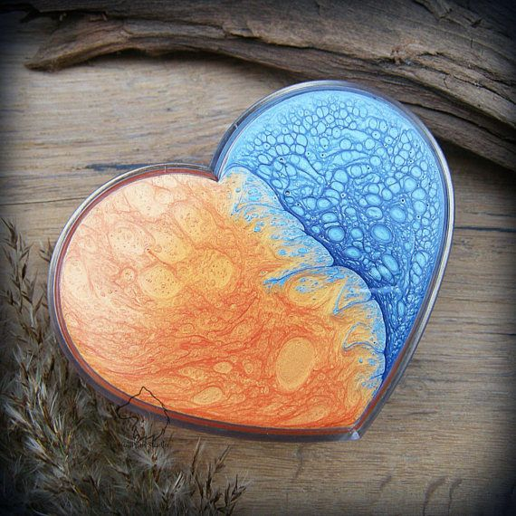 Sea Sunset heart make up organizer box hand painted jewelry