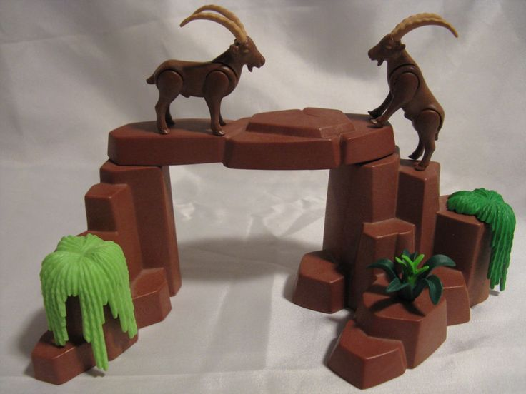 Playmobil Long Horned Mountain Goats w/ Rocks, Country Sheep Zoo or  Ark Animals #PLAYMOBIL