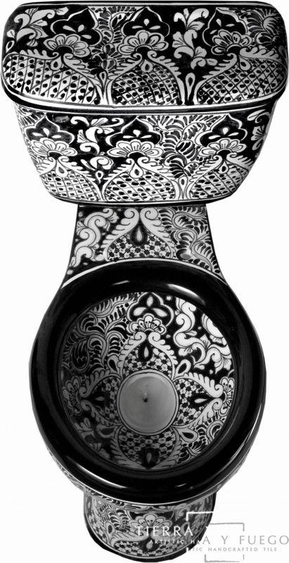Black & White Mexican Ceramic Toilet