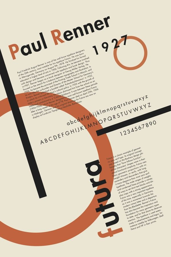 Here we see Futura presented in a constructivist style or something straight out of the Bauhaus. Maybe futuristic type of poster would have been more fitting? Either way, futura was popular in the 70's and why it has a retro feeling despite being created in the 20's.: