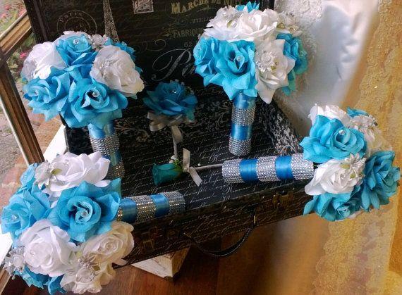 17 Piece Malibu Blue White Silver Wedding Flower Set, Bridal Bouquet, Malibu…