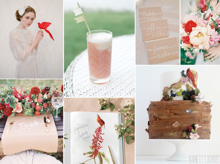 A red bird themed wedding inspiration board for a springtime wedding with green and neutral wedding details.