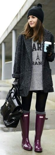Perfect outfit for cold/rainy weather. Leather.coat.rain boots.beanie.sweater