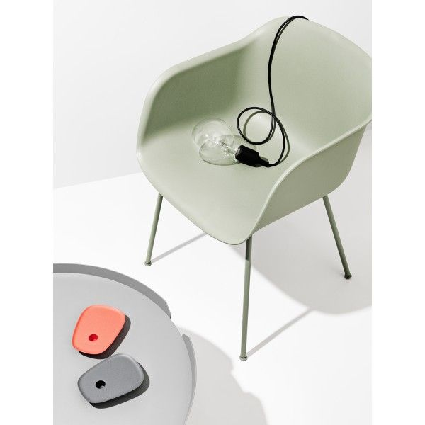 E27 lamp with Muuto Fiber chair tube in mint green and Around large coffee table.