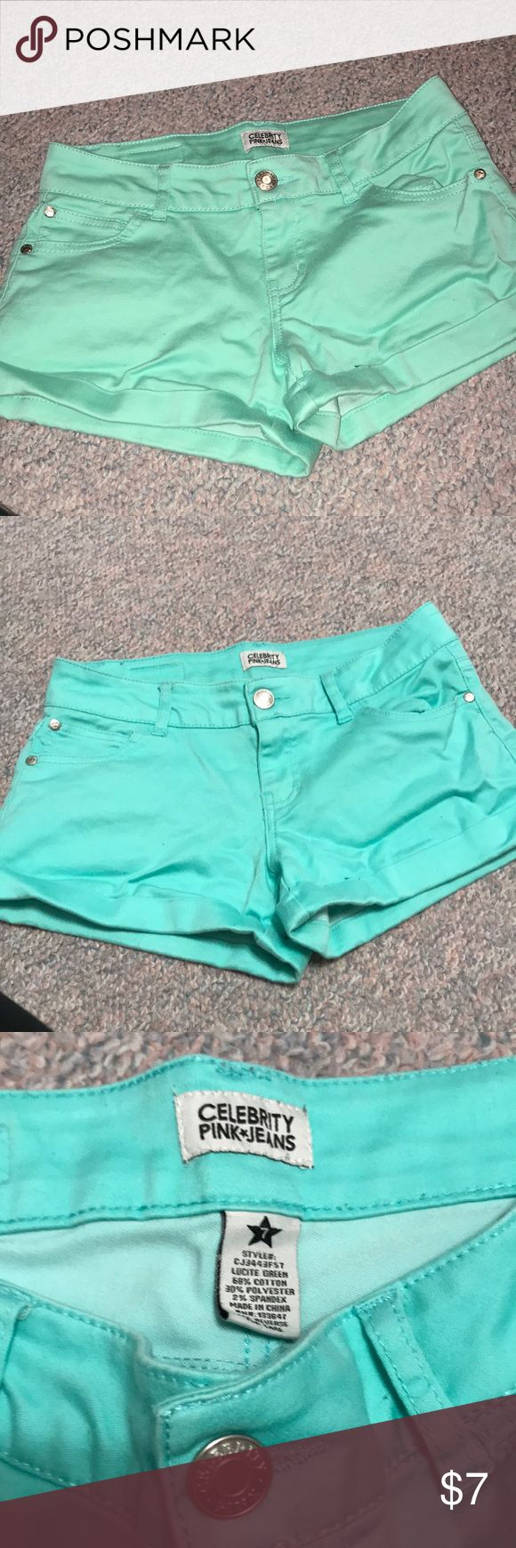 Mint green soft denim shorts These mint green shorts have barely been worn and are in great condition. They are soft and stretchy, and are perfect for spring and summer. When I took the picture without the flash, they looked blue, so I took it with the flash. The flash makes the color look a bit lighter, but only a tiny bit. They look great with mostly white and gray tops. Celebrity Pink Shorts Jean Shorts