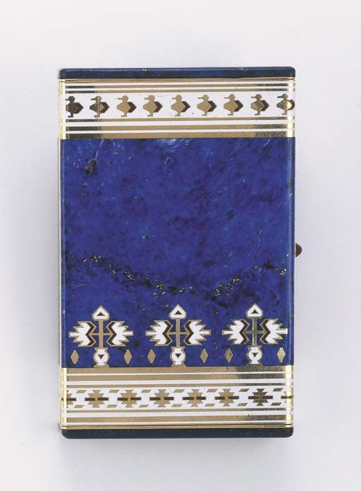A FINE ART DECO LAPIS LAZULI AND ENAMEL VANITY CASE, BY CARTIER