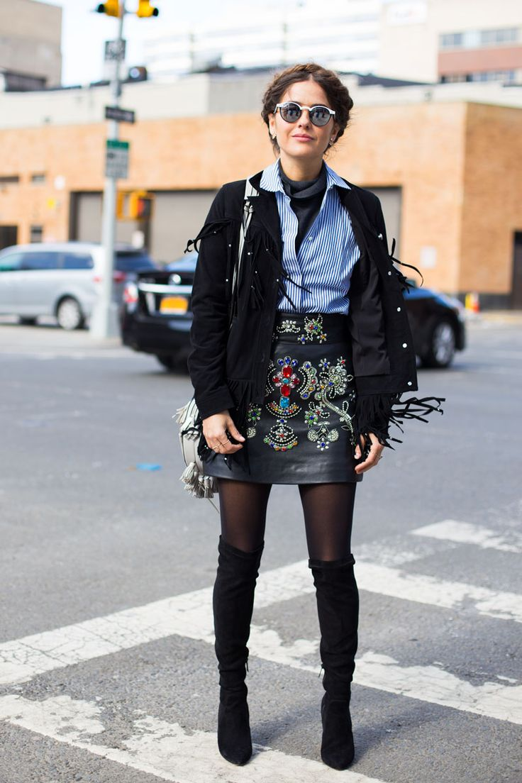 embroidered / patches on leather skirt. Street Style from New York Fashion Week Fall 2016 | StyleCaster
