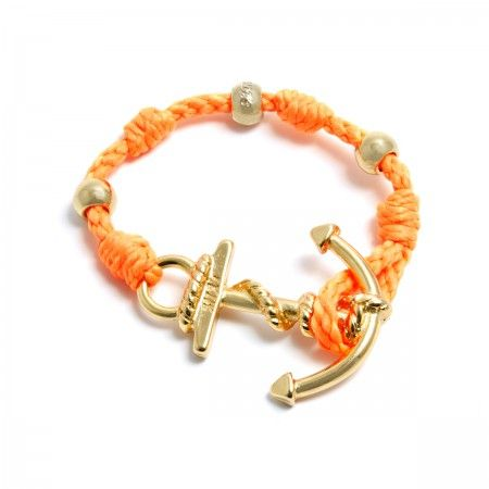 Adjustable Bracelet (up to 22 cm) spheres and anchor to choose between silver or gold. Bracelet Color: Orange Made in Italy