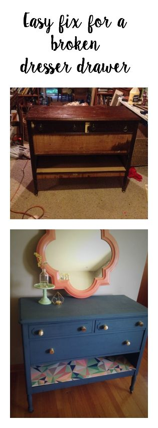 Have a broken dresser drawer a quick and really pretty fix.  DIY at its best!                                                                                                                                                                                 More