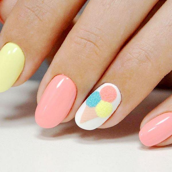 sommerliche Nail Art Designs für kurze Nägel mit Eis #sommer #nails #nailart … – Summer nail art