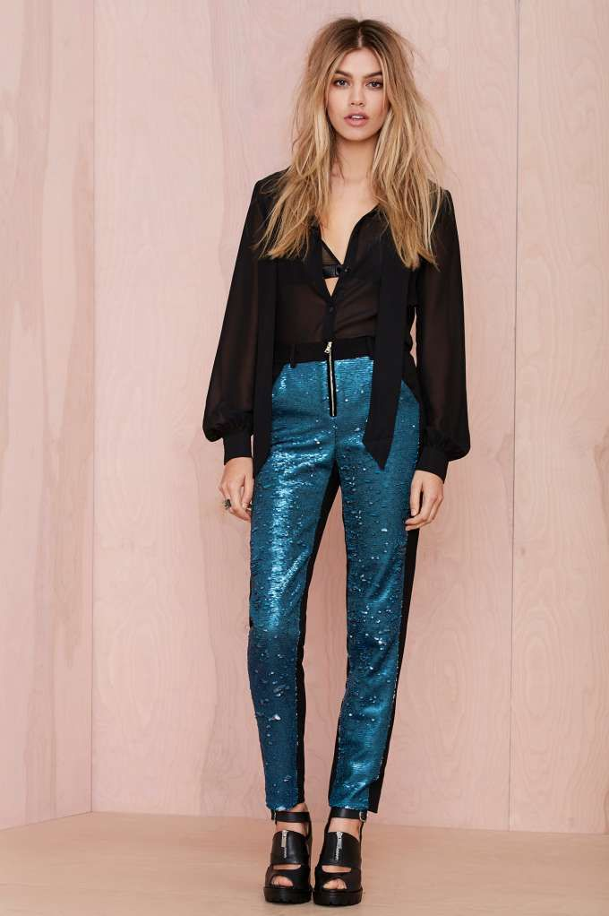 Great. Looks like this pant let's it rain. +> Three Floor Très You Sequin Pant