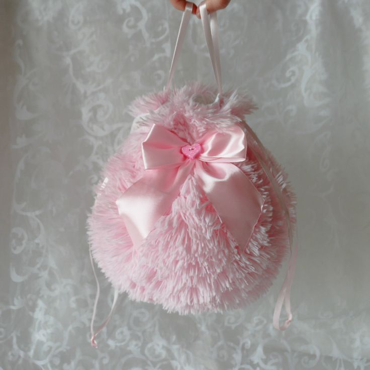 Pink plush pompadour purse evening handbag wristlet drawstring reticule by AlicesLittleRabbit on Etsy