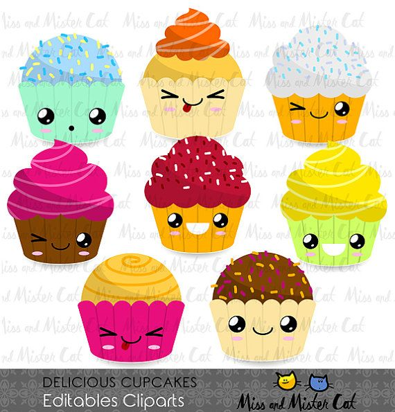 Cupcakes Cliparts. Delicious Cupcakes vector graphics, kawaii clip art, digital images. Commercial use. Model Delicious Cupcakes   Vector