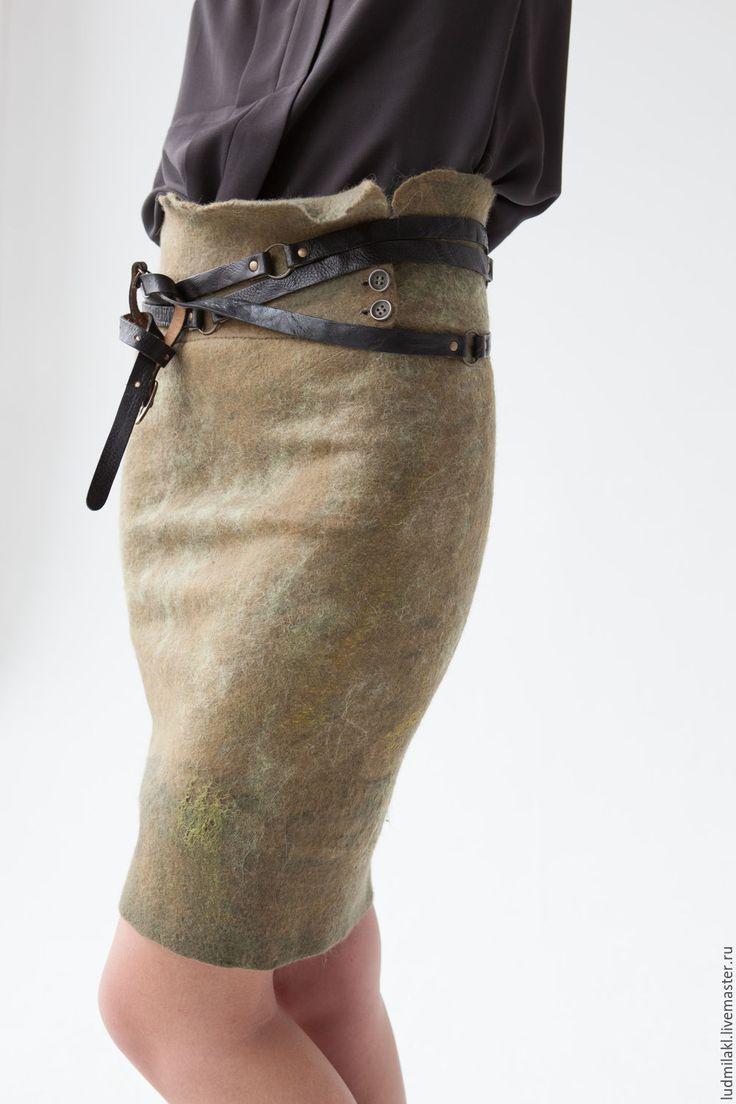 """Купить Юбка валяная """"Камыш"""" - оливковый, юбка из войлока, юбка валяная, шерстяная юбка"""