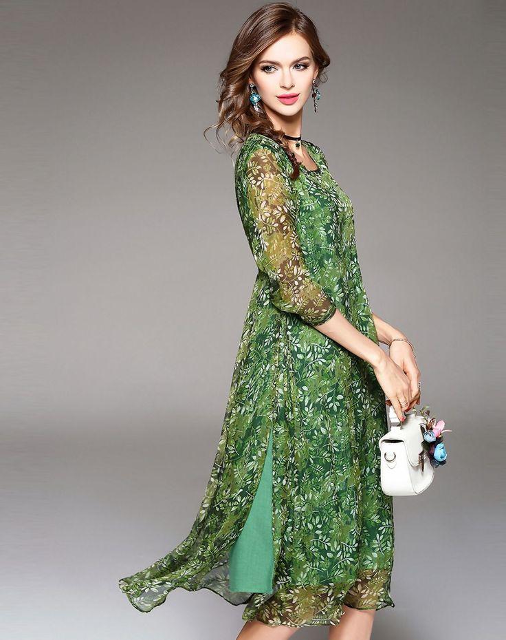 Зеленый шелк Цветочные Сплит Midi Сдвиг платье, зеленый, Ewheat - VIPme
