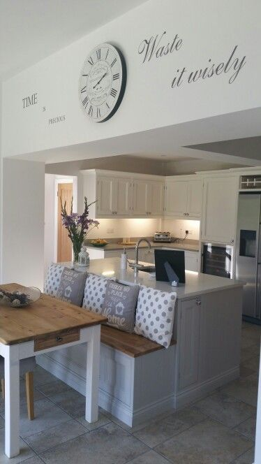 Handgemalte Kücheninsel Bank Eiche Sitz Tisch Wandtattoo Verlängerung – #Bench # …   – Kochen