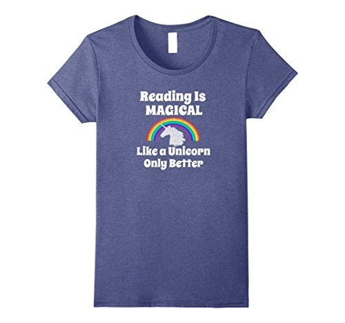 Womens Rainbow Unicorn Shirt Reading Is Magical Like a Un... https:/