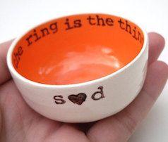 Tangerine personalized ring dish