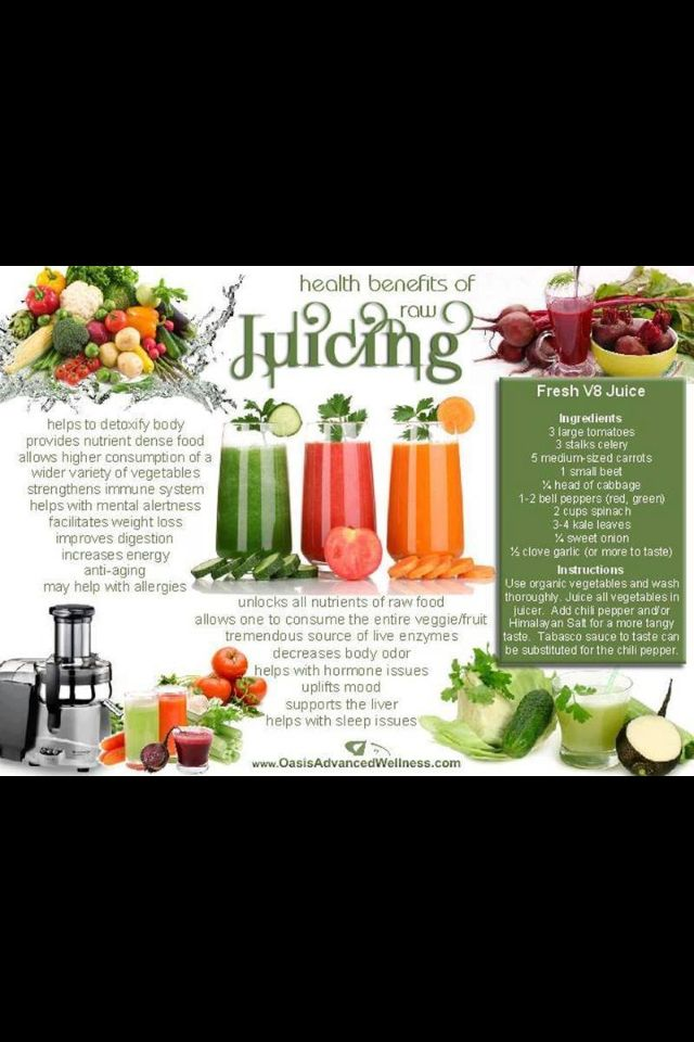 What are the health benefits of V8 juices?