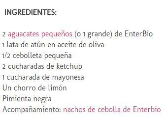 Ingredientes para el Dip de aguacate