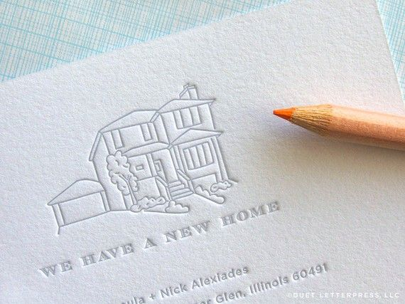 {sigh} If only we could afford to spend this after we buy the house!    Custom letterpress moving announcement $90