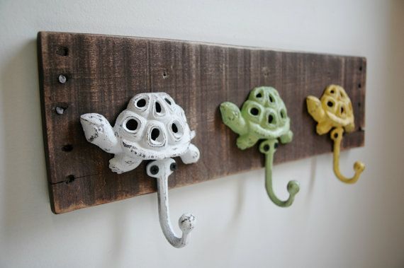 Turtle Hooks Wall Decor Summer Spring Home Decor by SplintersAndNails, $32.50