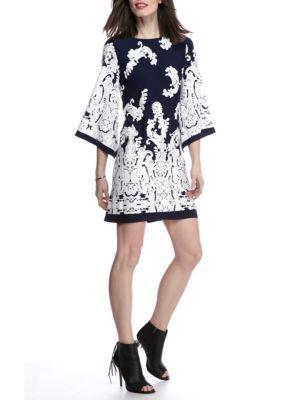 Sandra Darren Women's Kimono Sleeve Paisley Shift Dress - Navy/White - 14