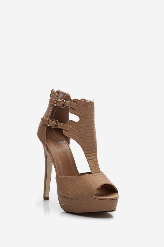 Sandały na szpilce Jennifer brązowe