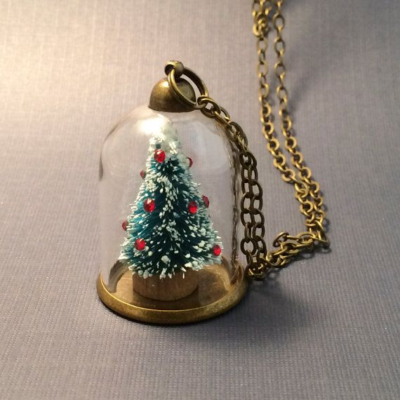 Collar pequeño árbol de Navidad, vidrio de la bóveda con adornos de cristal, victoriano estilo árbol de Mini vacaciones en miniatura, 12 días de Navidad